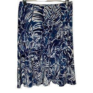 Lauren Ralph Lauren Womens Skirt Size Medium A Line Blue Silk Elastic Waist
